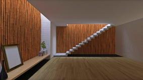 interior design 3d di stanza con la parete di bambù Immagine Stock Libera da Diritti
