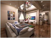 Interior design 3d and render stock photos