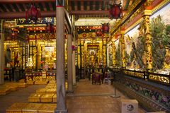 Interior design and decoration of Guandi shrine and Jinping Temple of the Queen of Heaven at Shantou or Swatow in Guangdong, China stock images