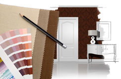 Interior design and decoration stock illustration