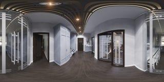 interior design del corridoio dell'illustrazione 3d nello stile classico Render è Fotografia Stock