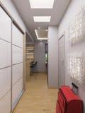 interior design del corridoio della rappresentazione 3d in un appartamento di studio moderno i Fotografie Stock Libere da Diritti