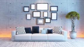 Interior design del salone con il muro di cemento e la cornice Immagini Stock Libere da Diritti
