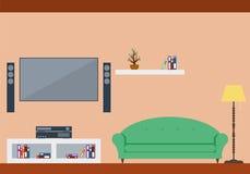 Interior design del salone con mobilia Immagine Stock Libera da Diritti