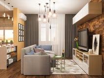 interior design del salone dell'illustrazione 3d Appartamento di studio moderno nello stile minimalista scandinavo Fotografia Stock