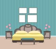 Interior design del salone della camera da letto nello stile piano compreso mobilia, il letto e le strutture vuote del modello Fotografie Stock
