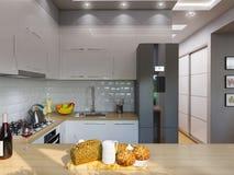 interior design del salone della rappresentazione 3d Immagine Stock Libera da Diritti