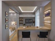 interior design del salone della rappresentazione 3d Immagine Stock