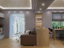 interior design del salone della rappresentazione 3d Fotografia Stock