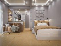 interior design del salone della rappresentazione 3d Immagini Stock