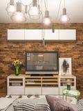 interior design del salone della rappresentazione 3d Appartamento di studio moderno nello stile minimalista scandinavo Fotografia Stock