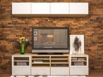 interior design del salone della rappresentazione 3d Appartamento di studio moderno nello stile minimalista scandinavo Fotografie Stock