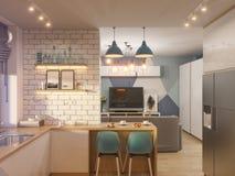 interior design del salone e della cucina dell'illustrazione 3d moderno Immagine Stock Libera da Diritti