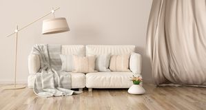Interior design del salone moderno con il sofà e la tenda, rappresentazione 3d illustrazione vettoriale