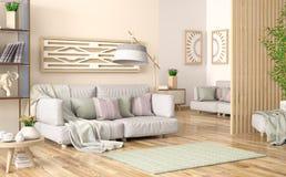 Interior design del salone moderno con il sofà grigio, lo scaffale per libri con i libri e l'incorniciatura di legno, rappresenta illustrazione vettoriale