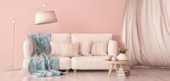 Interior design del salone moderno con il sof? e la tenda, tavolino da salotto con i tulipani, rappresentazione 3d illustrazione vettoriale