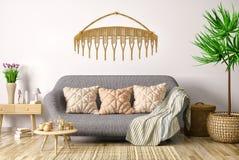 Interior design del salone moderno con il sof? ed il tavolino da salotto, rappresentazione 3d illustrazione di stock