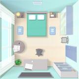 Interior design della camera da letto con il letto, guardaroba, vista del piano d'appoggio realistica Immagine Stock Libera da Diritti