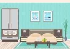 Interior design della camera da letto con mobilia compreso il letto, i comodini, la pianta da appartamento e le immagini sulla pa Royalty Illustrazione gratis