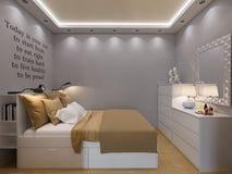 interior design della camera da letto della rappresentazione 3d Fotografie Stock