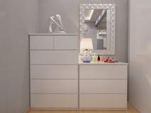 interior design della camera da letto della rappresentazione 3d Fotografia Stock Libera da Diritti