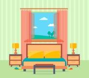 Interior design della camera da letto nello stile piano compreso il letto, la tavola, le lampade, i comodini e la finestra Fotografie Stock Libere da Diritti