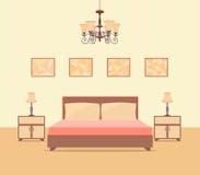 Interior design della camera da letto nello stile piano compreso il letto, la tavola, le lampade, i comodini e le cornici Immagine Stock Libera da Diritti