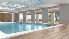Interior design della piscina, all'interno con la grande finestra panoramica Immagini Stock