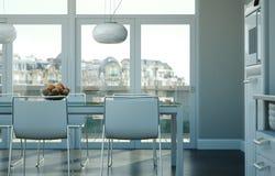 Interior design della sala da pranzo nella casa di spiaggia immagine stock libera da diritti
