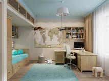 Interior design della stanza del ` s dei bambini per il piccolo viaggiatore Fotografia Stock Libera da Diritti