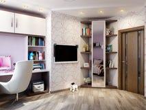 Interior design della stanza del ` s dei bambini per la ragazza Fotografie Stock