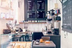 Free Interior Design Details Of Empty Modern Coffee Shop Restaurant At Daytime. Small Local Business. Stock Photography - 152592912