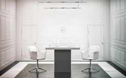 Interior design di lusso bianco in bianco dell'ufficio, Immagini Stock