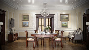 Interior design di lusso del salone nello stile classico Fotografia Stock