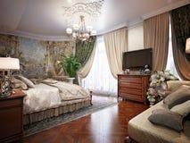 Interior design di lusso della camera da letto nello stile classico Immagine Stock Libera da Diritti