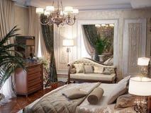 Interior design di lusso della camera da letto nello stile classico Fotografie Stock Libere da Diritti