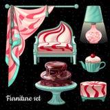Interior design di tema in decorazione del caramello, 6 oggetti Immagine Stock