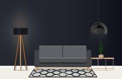 Interior design di un salone moderno nello stile scandinavo Illustrazione piana di vettore Fotografia Stock