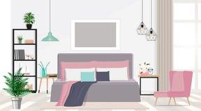 Interior design di una camera da letto piacevole nei colori pastelli Illustrazione piana di vettore Immagini Stock
