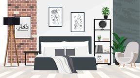 Interior design di una camera da letto spaziosa con un grande letto in uno stile del sottotetto Illustrazione piana di vettore fotografia stock