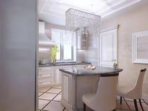 Interior design di una cucina moderna di lusso Fotografia Stock