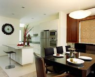 Interior design - dining. Dining area and dry kitchen Royalty Free Stock Image