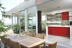 Interior design - dining. Outdoor dining area and dry kitchen Royalty Free Stock Photo
