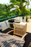 Interior design - dining. Outdoor dining area and washing area Royalty Free Stock Photos