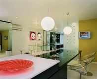 Interior design - dining. Dining area with bar counter Stock Photography
