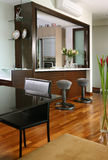 Interior design - dining. Dining area and bar counter Stock Images