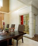 Interior design - dining area. Dining table and dining chairs Stock Photos