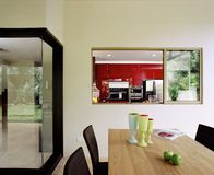 Interior design - dining area. Dinind area and dry kitchen Stock Photo