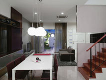 Interior design - dining area. Dining area with table and chairs Stock Image