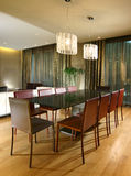 Interior design - dining area. Dining area with pendant lighting Royalty Free Stock Photography